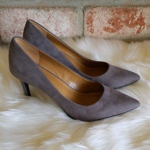 14th & Union gray suede heels pumps